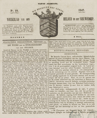 Weekblad van Den Helder en het Nieuwediep 1847-05-03