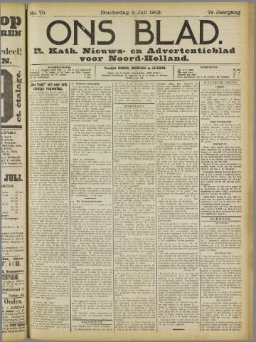Ons Blad : katholiek nieuwsblad voor N-H 1913-07-03