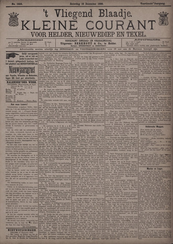 Vliegend blaadje : nieuws- en advertentiebode voor Den Helder 1886-12-18