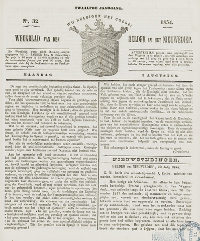 Weekblad van Den Helder en het Nieuwediep 1854-08-07