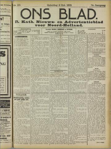 Ons Blad : katholiek nieuwsblad voor N-H 1913-10-04