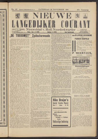 Nieuwe Langedijker Courant 1931-11-28