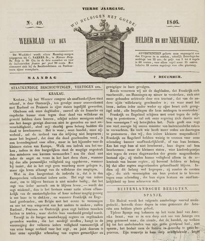 Weekblad van Den Helder en het Nieuwediep 1846-12-07