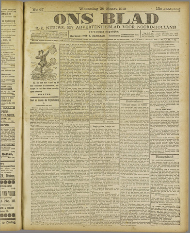 Ons Blad : katholiek nieuwsblad voor N-H 1919-03-26
