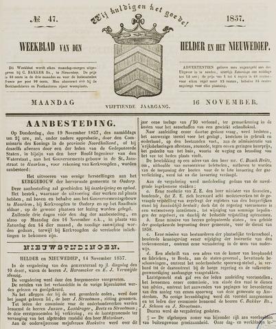 Weekblad van Den Helder en het Nieuwediep 1857-11-16