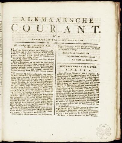 Alkmaarsche Courant 1816-09-23