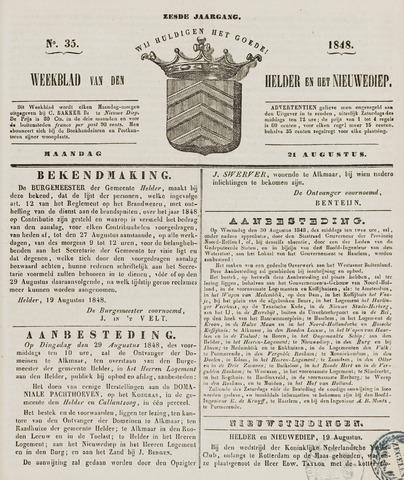 Weekblad van Den Helder en het Nieuwediep 1848-08-21