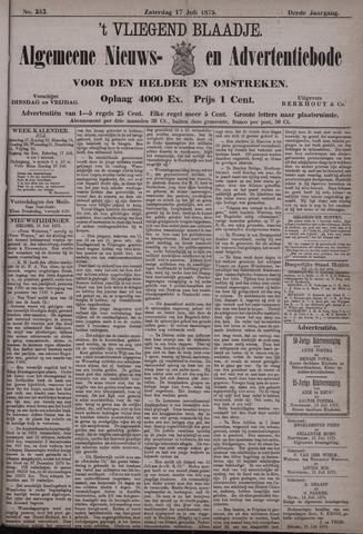 Vliegend blaadje : nieuws- en advertentiebode voor Den Helder 1875-07-17