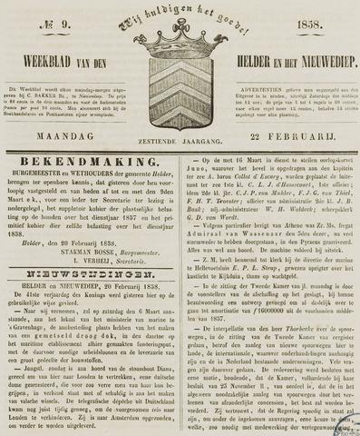 Weekblad van Den Helder en het Nieuwediep 1858-02-22