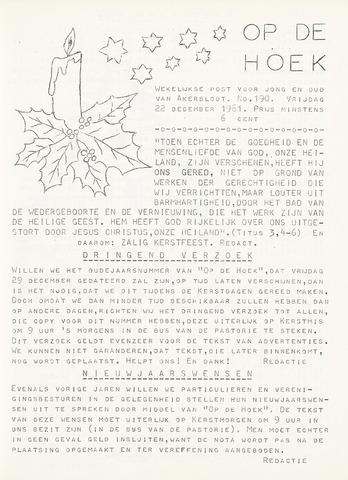 Op De Hoek, weekblad voor Akersloot 1961-12-22