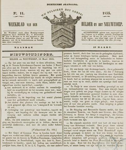 Weekblad van Den Helder en het Nieuwediep 1855-03-12