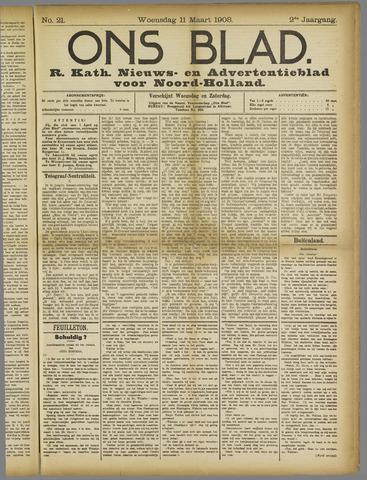 Ons Blad : katholiek nieuwsblad voor N-H 1908-03-11
