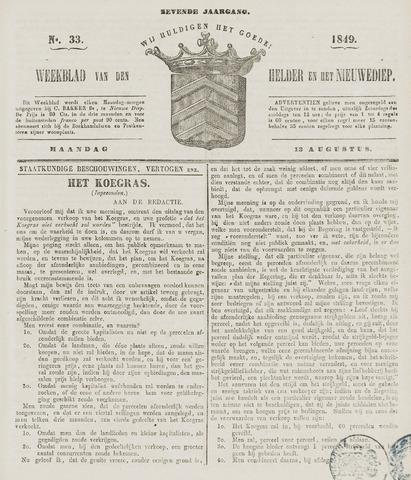 Weekblad van Den Helder en het Nieuwediep 1849-08-13