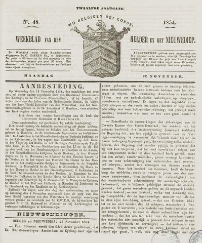Weekblad van Den Helder en het Nieuwediep 1854-11-27
