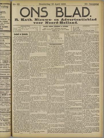 Ons Blad : katholiek nieuwsblad voor N-H 1916-04-13