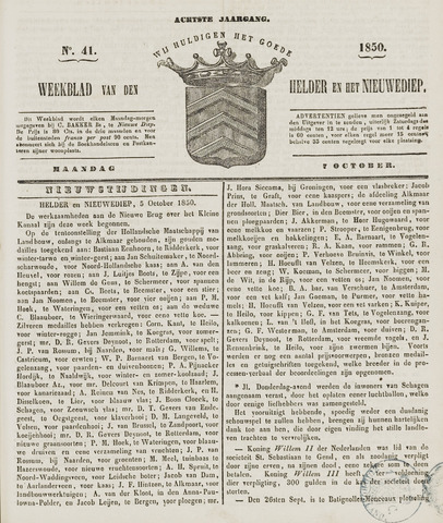 Weekblad van Den Helder en het Nieuwediep 1850-10-07