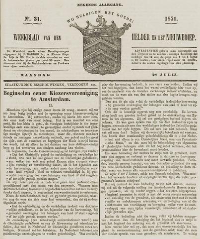 Weekblad van Den Helder en het Nieuwediep 1851-07-28