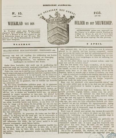 Weekblad van Den Helder en het Nieuwediep 1855-04-09