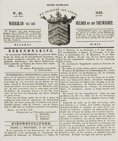 Weekblad van Den Helder en het Nieuwediep 1853-05-23