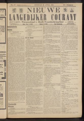 Nieuwe Langedijker Courant 1931-04-21