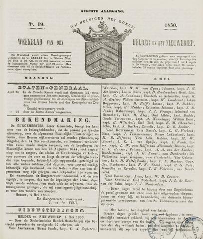 Weekblad van Den Helder en het Nieuwediep 1850-05-06