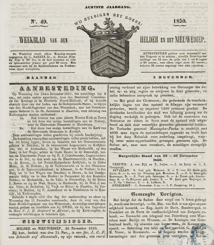 Weekblad van Den Helder en het Nieuwediep 1850-12-02