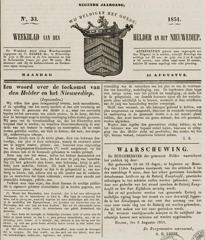 Weekblad van Den Helder en het Nieuwediep 1851-08-11