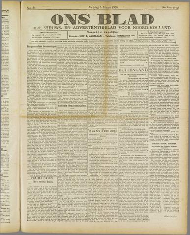 Ons Blad : katholiek nieuwsblad voor N-H 1920-03-05