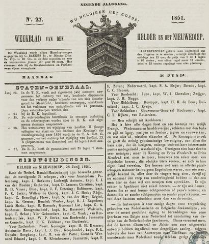 Weekblad van Den Helder en het Nieuwediep 1851-06-30