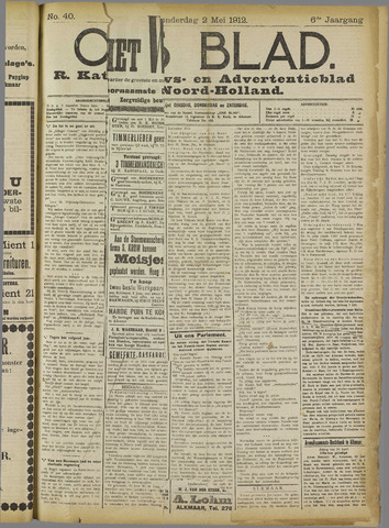 Ons Blad : katholiek nieuwsblad voor N-H 1912-05-02