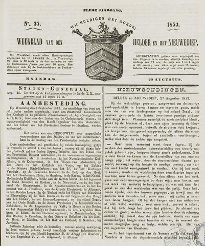 Weekblad van Den Helder en het Nieuwediep 1853-08-29