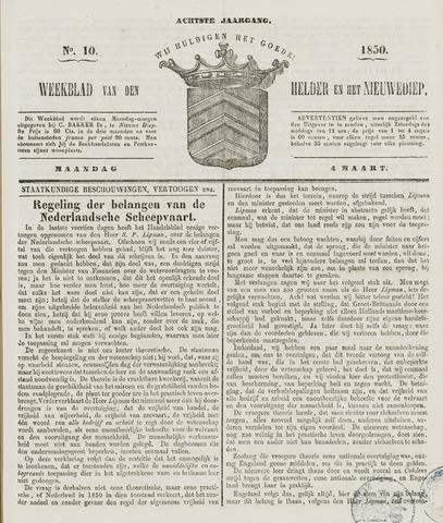 Weekblad van Den Helder en het Nieuwediep 1850-03-04