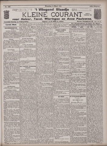 Vliegend blaadje : nieuws- en advertentiebode voor Den Helder 1913-03-19
