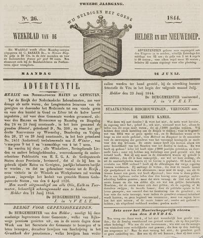 Weekblad van Den Helder en het Nieuwediep 1844-06-24