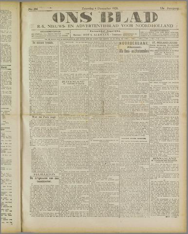 Ons Blad : katholiek nieuwsblad voor N-H 1920-12-04
