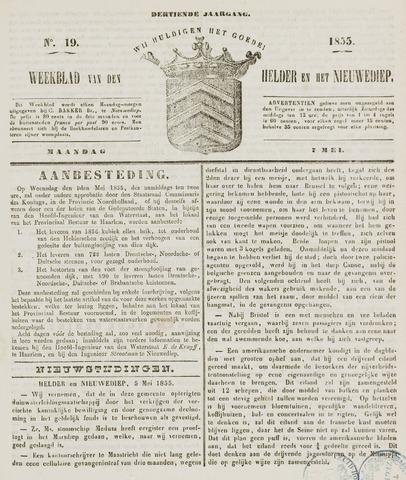 Weekblad van Den Helder en het Nieuwediep 1855-05-07