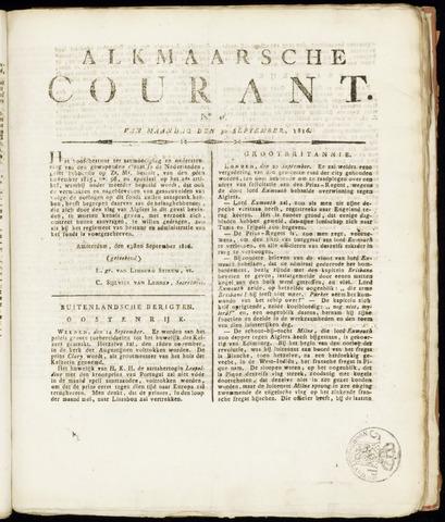 Alkmaarsche Courant 1816-09-30