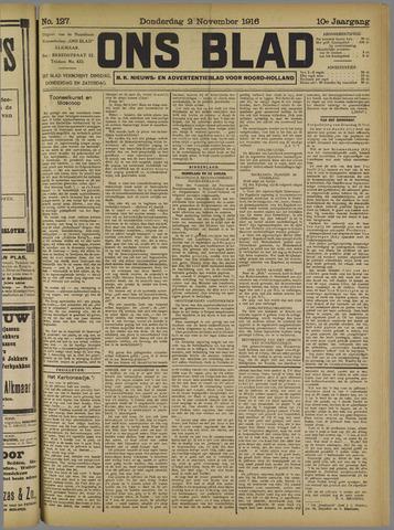 Ons Blad : katholiek nieuwsblad voor N-H 1916-11-02