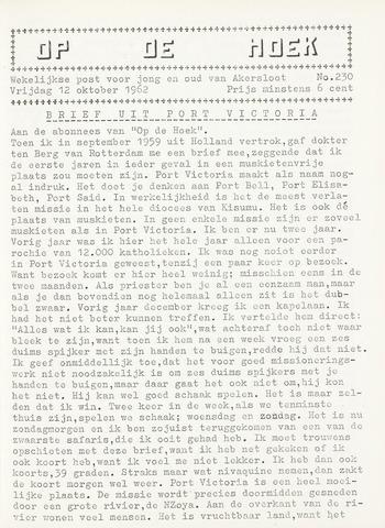 Op De Hoek, weekblad voor Akersloot 1962-10-12