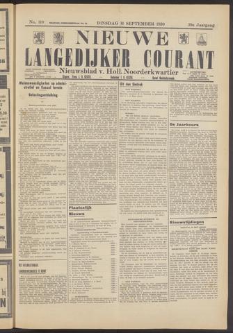 Nieuwe Langedijker Courant 1930-09-16