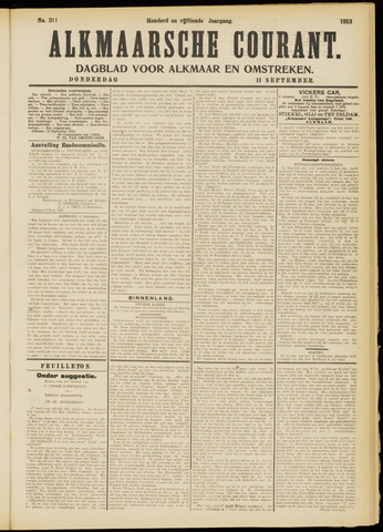 Alkmaarsche Courant 1913-09-11