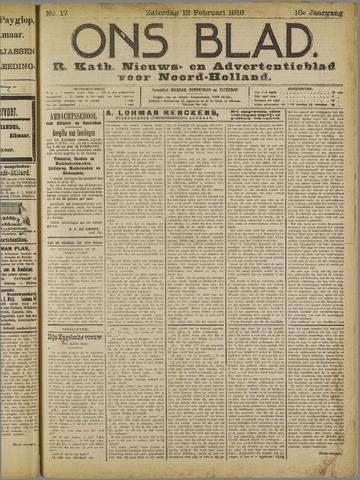 Ons Blad : katholiek nieuwsblad voor N-H 1916-02-12