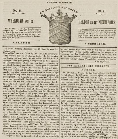 Weekblad van Den Helder en het Nieuwediep 1844-02-05