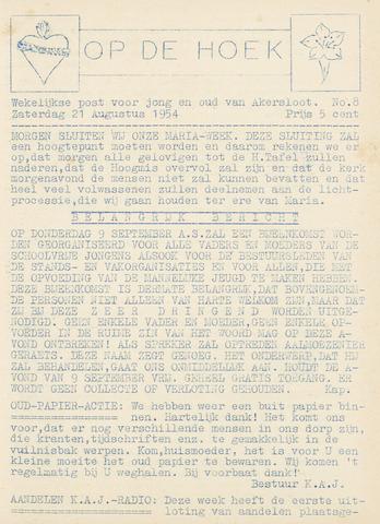 Op De Hoek, weekblad voor Akersloot 1954-08-21