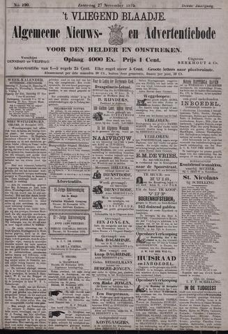 Vliegend blaadje : nieuws- en advertentiebode voor Den Helder 1875-11-27