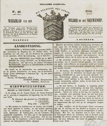 Weekblad van Den Helder en het Nieuwediep 1854-10-02