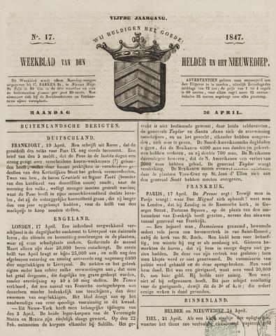 Weekblad van Den Helder en het Nieuwediep 1847-04-26