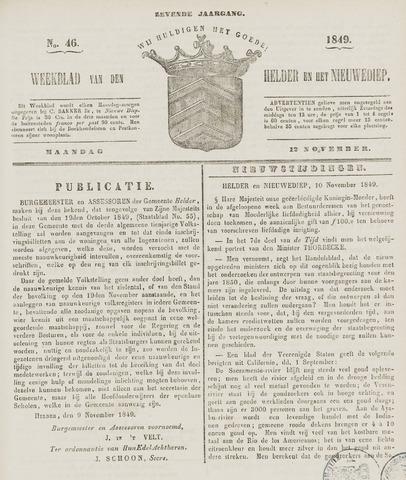 Weekblad van Den Helder en het Nieuwediep 1849-11-12