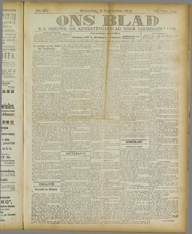 Ons Blad : katholiek nieuwsblad voor N-H 1919-09-03