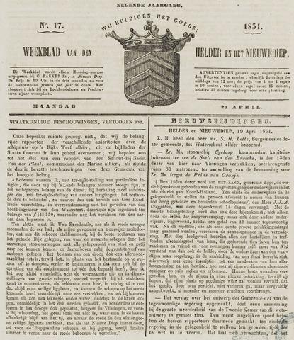 Weekblad van Den Helder en het Nieuwediep 1851-04-21